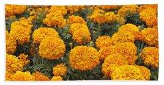 Field Of Orange Marigolds Beach Sheet