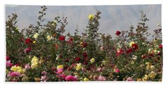 Field Of Roses Beach Sheet by Laurel Powell