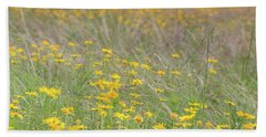 Field Of Yellow Flowers In A Sunny Spring Day Beach Towel