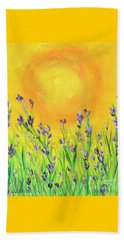 Field Sunset Beach Towel by Val Miller