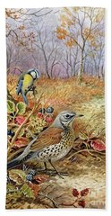 Fieldfare And Blue Tit Beach Towel