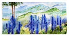 Fields Of Lupines Beach Towel