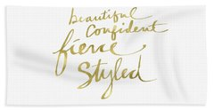 Fierce And Styled Gold- Art By Linda Woods Beach Towel