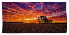 Fiery Dawn At Center Grove Beach Towel