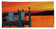 Fiery Dock Sunset Beach Sheet by Mary Haber
