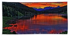 Beach Towel featuring the photograph Fiery Lake by Scott Mahon