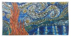 Beach Towel featuring the painting Fiery Night by Amelie Simmons