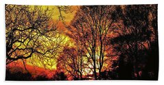 Fiery Red Sunset Beach Sheet by Carol F Austin