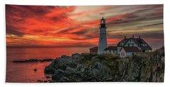 Fiery Sunrise At Portland Head Light Beach Sheet