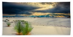 Beach Towel featuring the photograph Fiery Sunrise At White Sands by Rikk Flohr