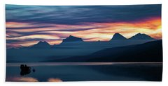 Beach Towel featuring the photograph Fiery Sunrise At Mcdonald Lake, Gnp by Lon Dittrick