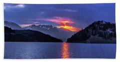 Fiery Sunset At Summit Cove Beach Towel