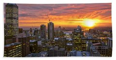 Beach Towel featuring the photograph Fiery Sunset by Ray Warren