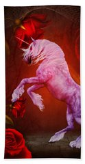 Fiery Unicorn Fantasy Beach Towel