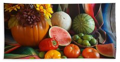 Beach Towel featuring the painting Fiesta Fall Harvest by Marilyn Smith