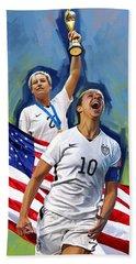 Beach Sheet featuring the painting Fifa World Cup U.s Women Soccer Carli Lloyd Abby Wambach Artwork by Sheraz A