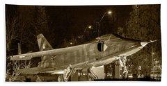 Fighter Plane By Night Beach Sheet