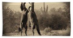 Fighting Stallions Beach Towel