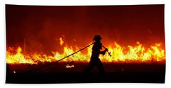 Fighting The Fire Beach Towel by Linda Unger