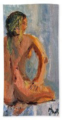 Beach Sheet featuring the painting Figure Study 1 by Michael Helfen