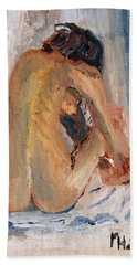 Beach Sheet featuring the painting Figure Study 2 by Michael Helfen