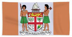 Beach Towel featuring the drawing Fiji Coat Of Arms by Movie Poster Prints