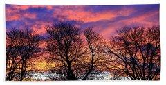 Beach Towel featuring the painting Filigree Sunset by Nareeta Martin