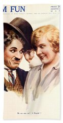 Film Fun Classic Comedy Magazine Featuring Charlie Chaplin And Girl 1916 Beach Sheet