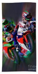 Fim Superbike Nicky Hayden Leads The Way Beach Towel