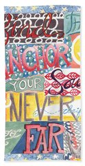 Beach Towel featuring the painting Find Your Anchor by Erin Fickert-Rowland