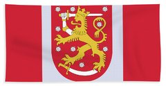 Finland Coat Of Arms Beach Towel by Movie Poster Prints
