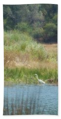 Finnon Lake Egret Beach Towel