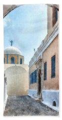 Fira Catholic Cathedral Digital Watercolor Painting Beach Towel