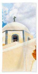 Fira Catholic Cathedral Digital Watercolour Painting Beach Towel
