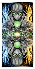 Fire And Ice Alien Time Machine Beach Towel