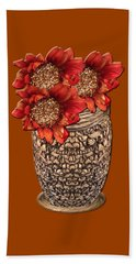 Fire Brick Flora Vase Beach Towel