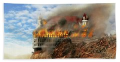 Beach Towel featuring the photograph Fire - Cliffside Fire 1907 by Mike Savad