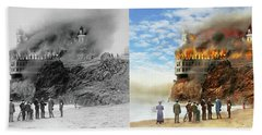 Beach Sheet featuring the photograph Fire - Cliffside Fire 1907 - Side By Side by Mike Savad