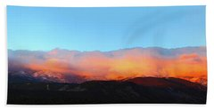 Beach Towel featuring the photograph Fire Clouds - Panorama by Shane Bechler