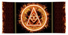 Beach Towel featuring the digital art Fire Emblem Sigil by Shawn Dall