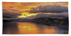 Fire In The Lake #1 Beach Towel