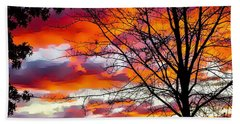Fire Inthe Sky Beach Sheet by MaryLee Parker