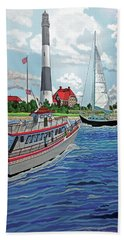 Fire Island Lighthouse And Boats In The Great South Bay Towel Version Beach Sheet