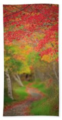 Fire Red Path  Beach Towel