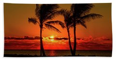 Fire Sunset Through Palms Beach Towel