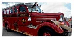Fire Truck Selfridge Michigan Beach Towel