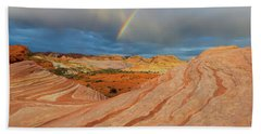 Fire Wave Rainbow Dawn Beach Towel