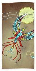 Firebird With Sun And Moon Beach Sheet by Deborah Smith