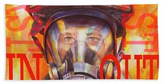 Beach Towel featuring the painting Firefighter by Steve Henderson