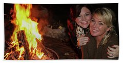 Beach Towel featuring the photograph Fireside Sisterly Love Night Photography Art by Reid Callaway